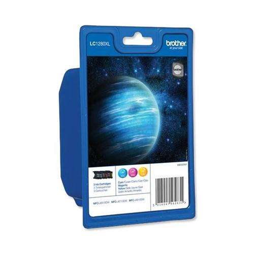Brother Inkjet Cartridge LC1280XL Page Life 3600pp 3 Colour Ref LC1280XLRBWBP [Pack 3]   100359