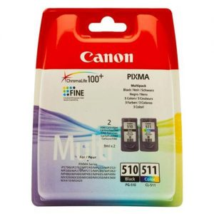 Canon PG-510/CL-511 Inkjet Cartridge Page Life 220 Black 224 Colour Ref 2970B010 [Pack 2] | 114888