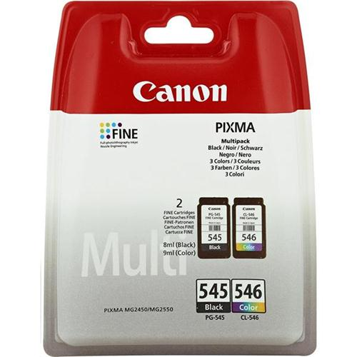 Canon PG545 & CL546 Inkjet Cartridge Page Life 180pp Black & Colour Ref 8287B005 [Pack 2] | 124004