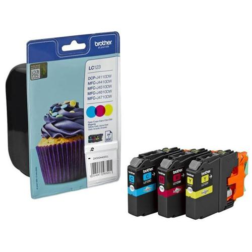 Brother Inkjet Cartridge Rainbow Pack Page Life 600pp Cyan/Magenta/Yellow Ref LC123RBWBP [Pack 3] | 132777