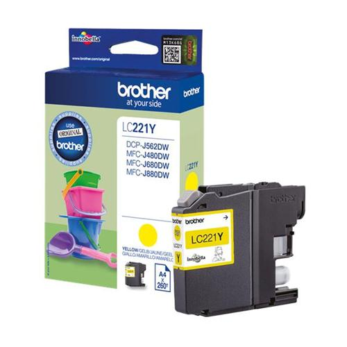 Brother LC221Y Inkjet Cartridge Yellow Ref LC221Y | 132909