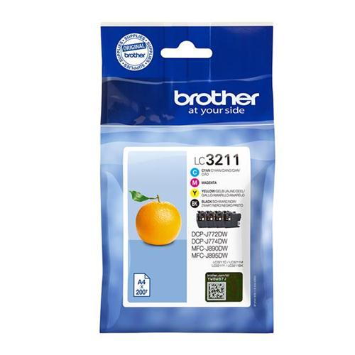Brother LC3211 Ink Cartridge Multipack Black/Cyan/Magenta/Yellow [Pack 4] Ref LC3211VAL | 148937