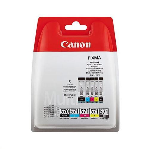 Canon PGI-570/CLI-571 InkJet Cartridge Page Life 1374pp Colour/Black x2 Ref 0372C004 [Pack 5] | 151173