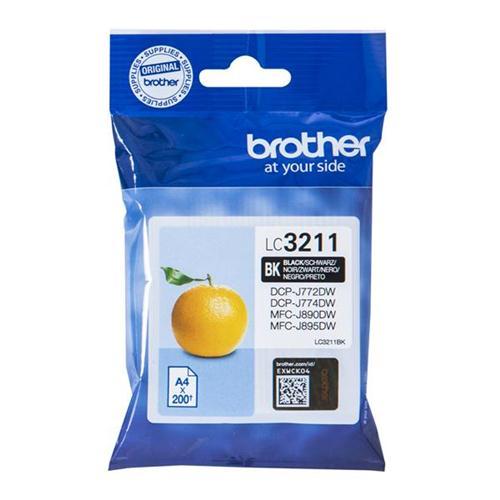 Brother LC3211BK Inkjet Cartridge Page Life 200pp Black Ref LC3211BK | 158526