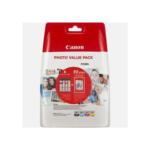 Canon CLI-581 Inkjet Cartridges 259pp and Photo Paper 750pp Value Pack B/C/M/Y Ref 2106C005 [Pack 5]   159565