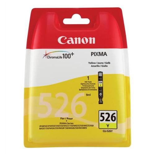Canon CLI-526Y Inkjet Cartridge Page Life 450pp Yellow Ref 4543B001 | 223900