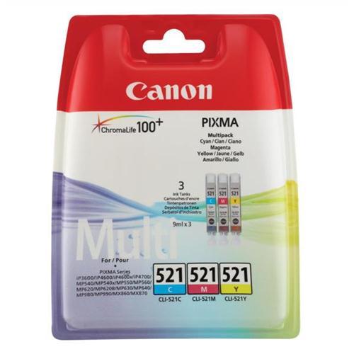 Canon CLI-521 Inkjet Cartridges Cyan/Magenta/Yellow Ref 2934B007 [Pack 3]   877860