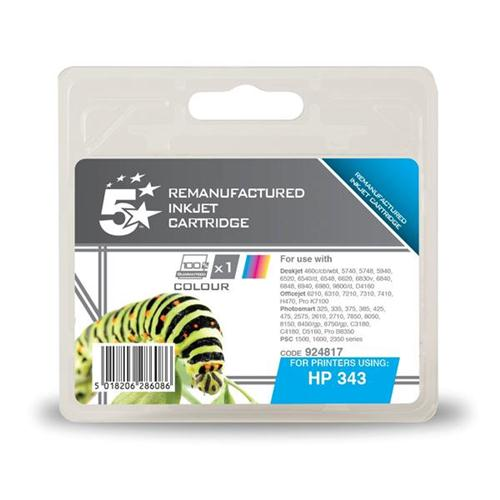 5 Star Office Remanufactured Inkjet Cartridge Page Life 260pp Colour [HP No. 343 C8766EE Alternative] | 924817