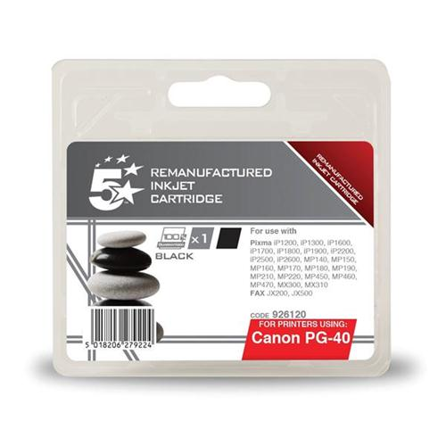5 Star Office Remanufactured Fax Inkjet Cartridge Page Life 490pp Black [Canon PG-40 Alternative]   926120
