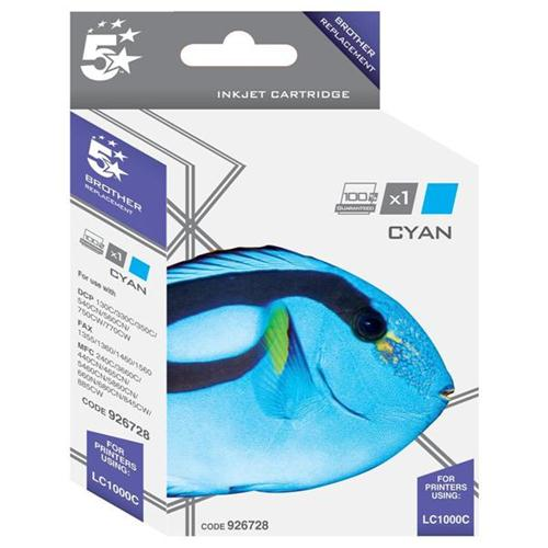5 Star Office Remanufactured Inkjet Cartridge Page Life 400pp Cyan [Brother LC1000C Alternative] | 926728