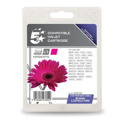 5 Star Office Remanufactured Inkjet Cartridge Page Life 400pp Magenta [Brother LC1000M Alternative] | 926732