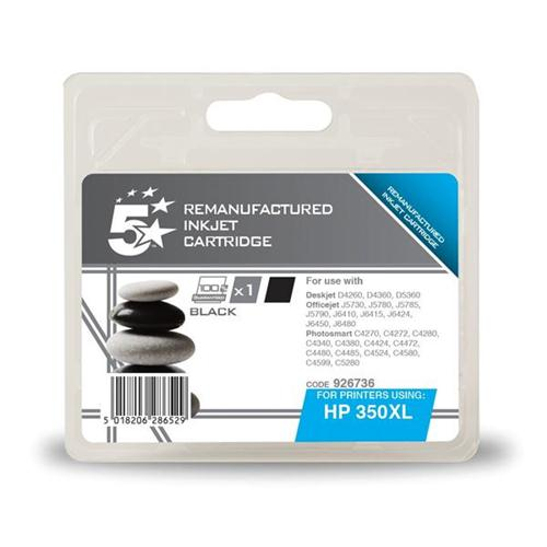 5 Star Office Remanufactured Inkjet Cartridge Page Life 1000pp Black [HP No. 350XL CB336EE Alternative] | 926736