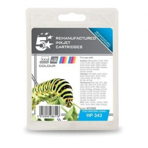 5 Star Office Remanufactured Inkjet Cartridge 520pp Colour [HP No 343 CB332EE Alternative] [Pack 2] | 927088