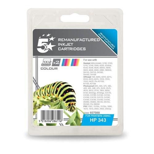 5 Star Office Remanufactured Inkjet Cartridge 520pp Colour [HP No 343 CB332EE Alternative] [Pack 2]   927088