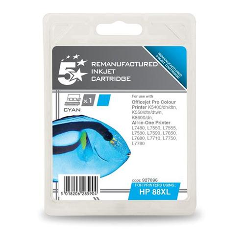 5 Star Office Remanufactured Inkjet Cartridge Page Life 1200pp Cyan [HP No. 88XL C9391A Alternative] | 927096