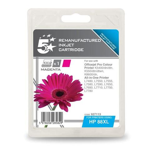 5 Star Office Remanufactured Inkjet Cartridge Page Life 1200pp Magenta [HP No. 88XL C9392A Alternative]   927113
