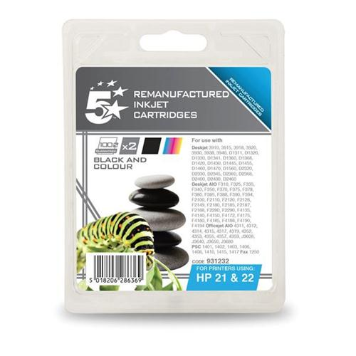 5 Star Office Remanufactured Inkjet Cartridge 250pp Black/Colour [HP No. 21 22 SD367AE] [Pack 2]   931232