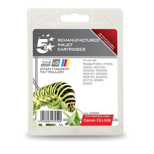 5 Star Office Remanufactured Inkjet Cartridge 3x545pp 3 Colour [Canon CLI-526 Alternative] [Pack 3] | 933680