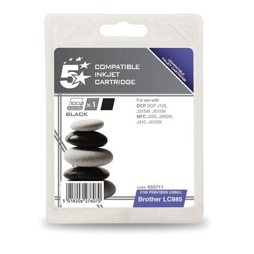 5 Star Office Remanufactured Inkjet Cartridge Page Life 300pp Black [Brother LC985BK Alternative]   933711