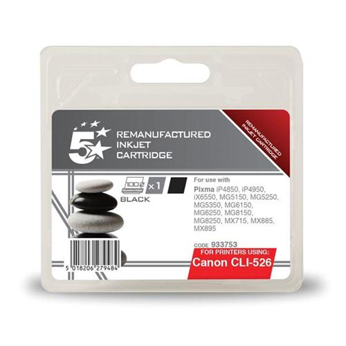 5 Star Office Remanufactured Inkjet Cartridge Page Life 1660pp Black [Canon CLI-526BK Alternative] | 933753