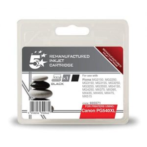 5 Star Office Remanufactured Inkjet Cartridge Page Life 600pp Black [Canon PG-540XL Alternative] | 935571