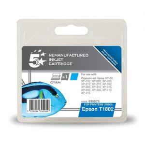 5 Star Office Remanufactured Inkjet Cartridge Capacity 3.3ml Cyan [Epson C13T18024010 Alternative] | 935575