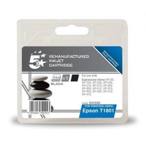 5 Star Office Remanufactured Inkjet Cartridge Capacity 5.2ml Black [Epson C13T18014010 Alternative]   935598
