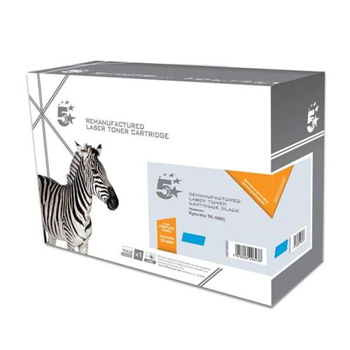 5 Star Office Remanufactured Laser Toner Cartridge Page Life 5000pp Cyan [Kyocera TK-590C Alternative] | 938342