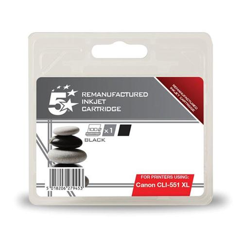 5 Star Office Remanufactured Inkjet Cartridge [Canon CLI-551 XL Alternative] Black   938411
