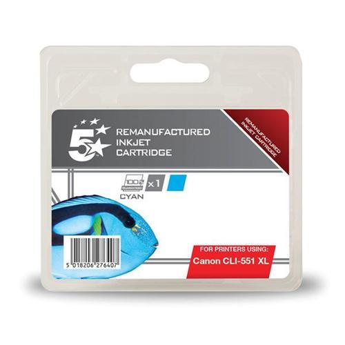 5 Star Office Remanufactured Inkjet Cartridge [Canon CLI-551 XL Alternative] Cyan   938415