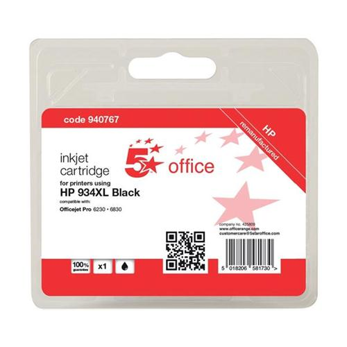 5 Star Office Remanufactured Inkjet Cartridge Page Life 1000pp Black [HP No. 934XL C2P23AE Alternative] | 940767