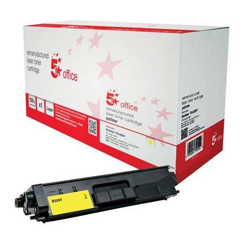 5 Star Office Remanufactured Laser Toner Cartridge Page Life 3500pp Yellow [Brother TN326Y Alternative] | 942283