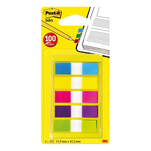 Post-it Index Small Portable Pack W12.5xH43mm Bright Colours Ref 683-5Cb