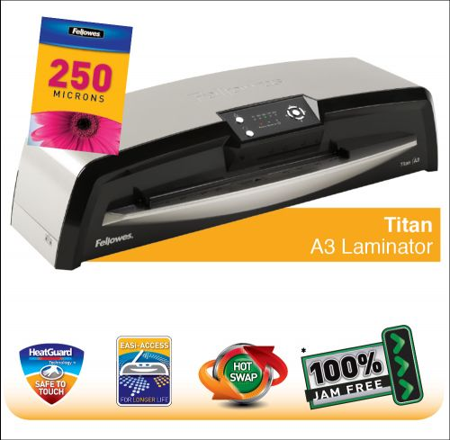 Fellowes Titan A3 Large Office Laminator with 100% Jam Free* Mechanism and HotSwap  