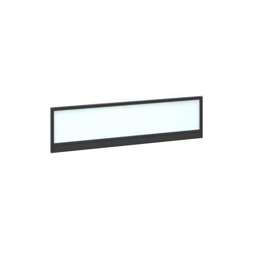 Straight glazed desktop screen 1400mm x 380mm - polar white with black aluminium frame |