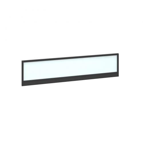 Straight glazed desktop screen 1600mm x 380mm - polar white with black aluminium frame |